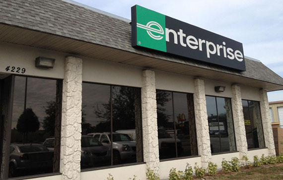 Enterprise storefront with dark tinted windows in Florida