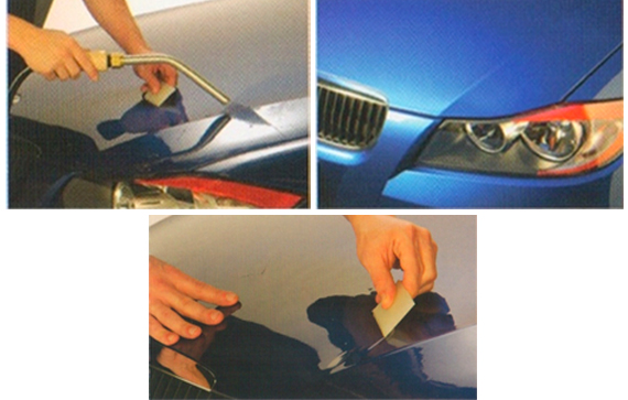 Nano-Fusion® Paint Protection film being applied to a blue vehicle