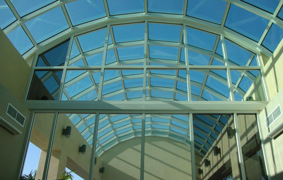 Commercial atrium in Southwest Florida with tinted windows by Suntamers