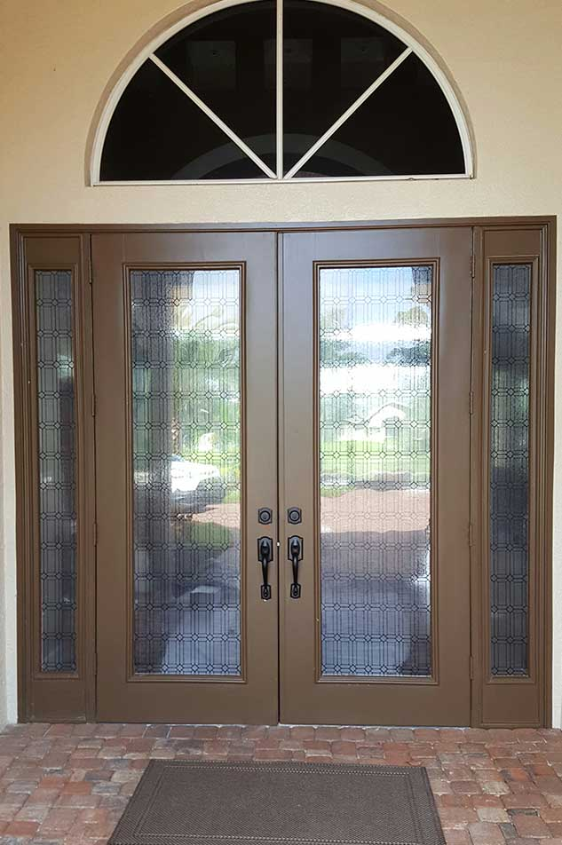 Superieur Front Doors Of A Home With Decorative Window Films Applied By Suntamers  Window Tinting